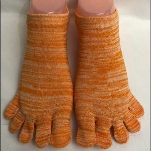 Accessories - Five Finger No Show Toe Socks Running  Orange New